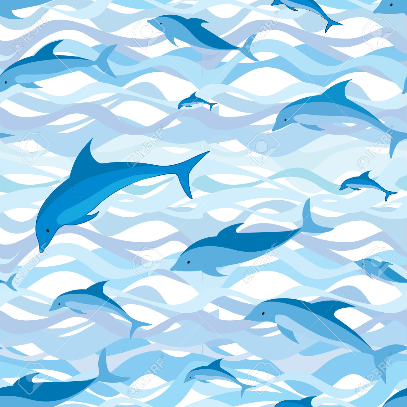 Dolphin Seamless Pattern  Sea Waves And Fish Background  Royalty