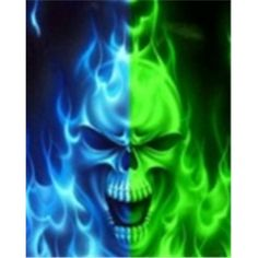 Green Flaming Skulls | Download Artistic Skulls wallpaper, 'green