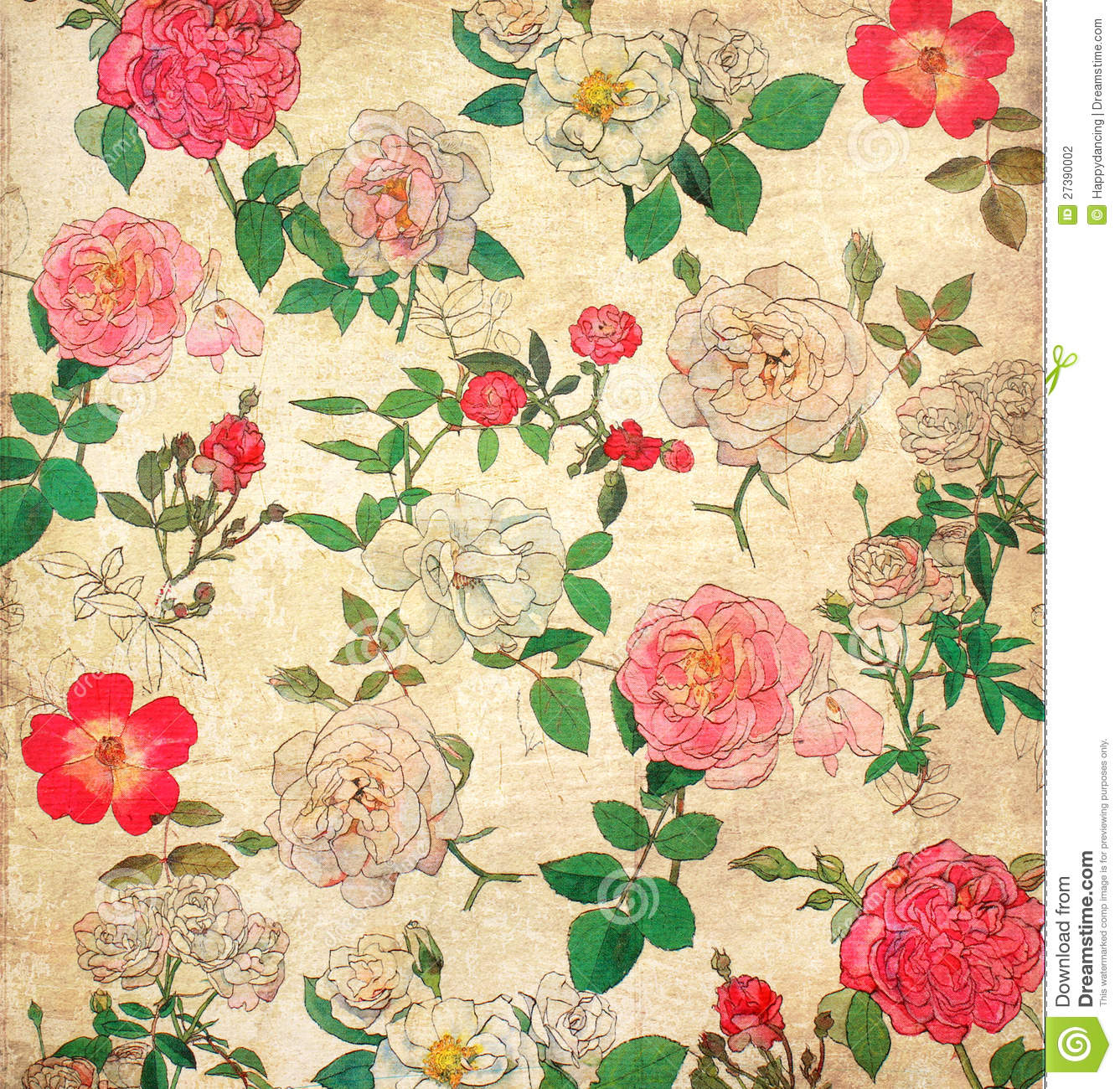 Floral Vintage Wallpaper Stock Photography - Image: 27390002