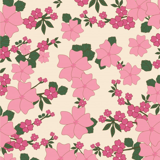 Vintage Floral Wallpaper Background Free Stock Photo