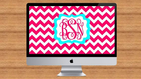Chevron Print Monogram Desktop Wallpaper | Etsy | Pinterest