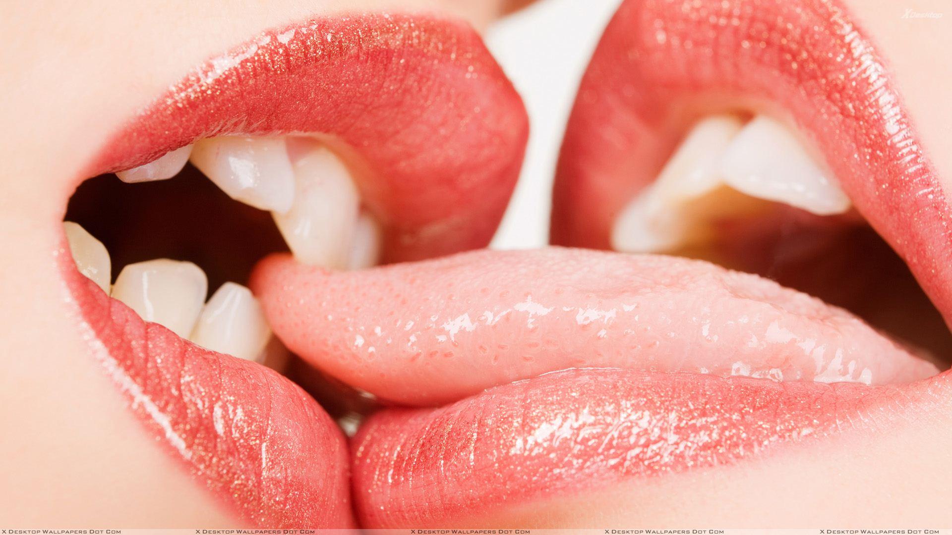 lips | Red Glossy Lips Kissing Wallpaper | One Last Kiss