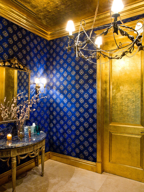 Blue And Gold Wallpaper Ideas, Pictures, Remodel and Decor