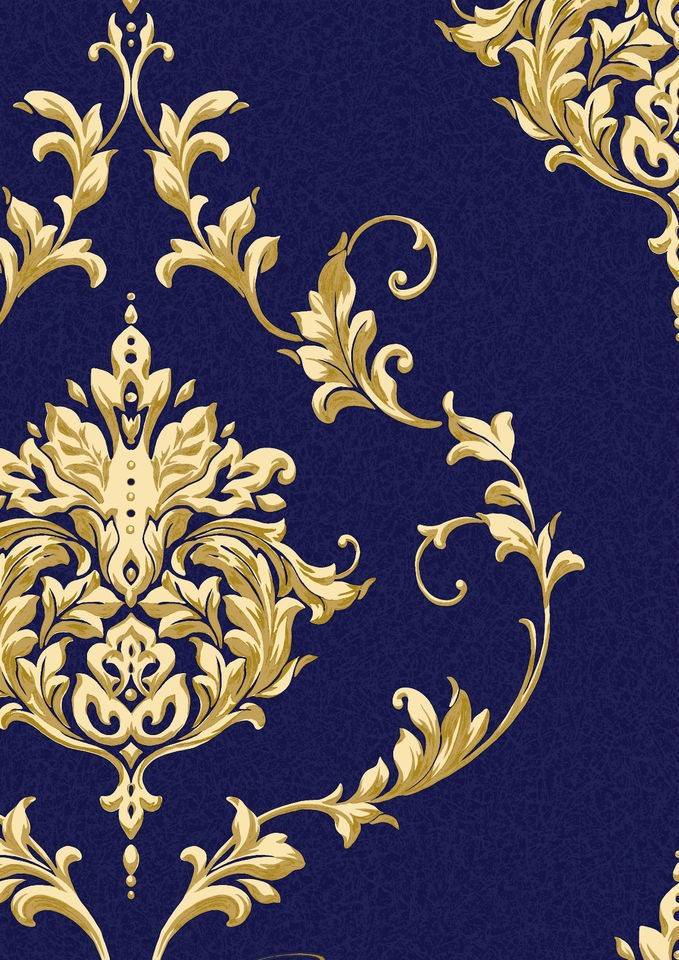 Sandringham Blue Luxury Damask Blown Textured Vinyl Wallpaper Blue