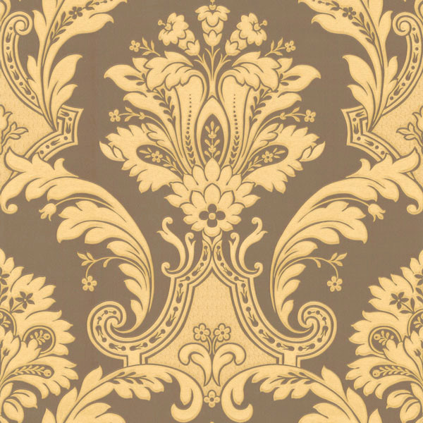 American Blinds Metallic Gold and Chocolate Damask Wallpaper