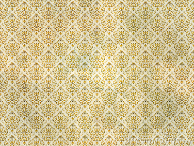 Old Gold Damask Wallpaper Stock Photography - Image: 16733582