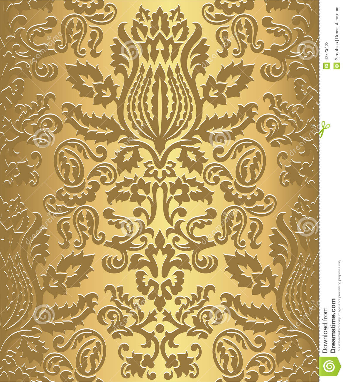 Gold Damask Wallpaper Pattern Stock Vector - Image: 62723422