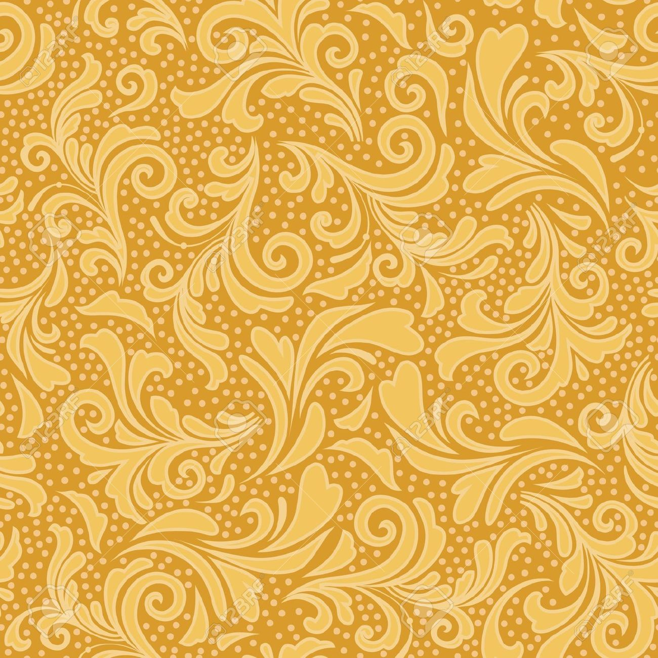 Floral Seamless Ornament In Gold Yellow Royalty Free Cliparts