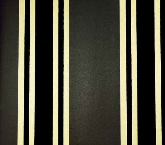 Perroquet Stripe Flock Wallpaper Charcoal and gold stripe with