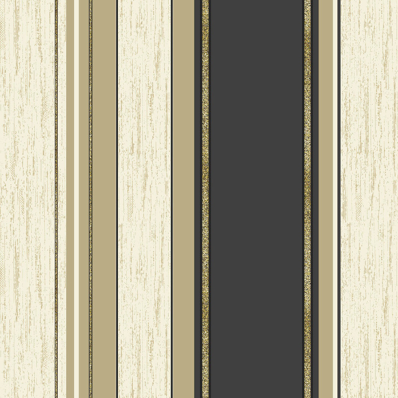Synergy Glitter Stripe Wallpaper in Black and Gold - M0909
