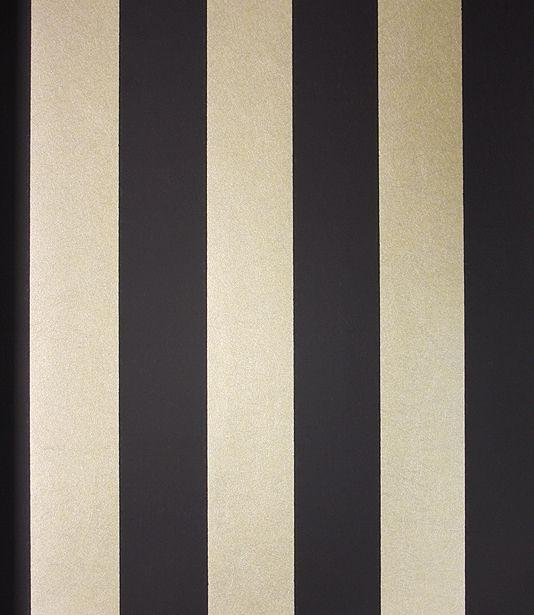 Marquee Stripe Wallpaper A matt black and mica gold wide striped