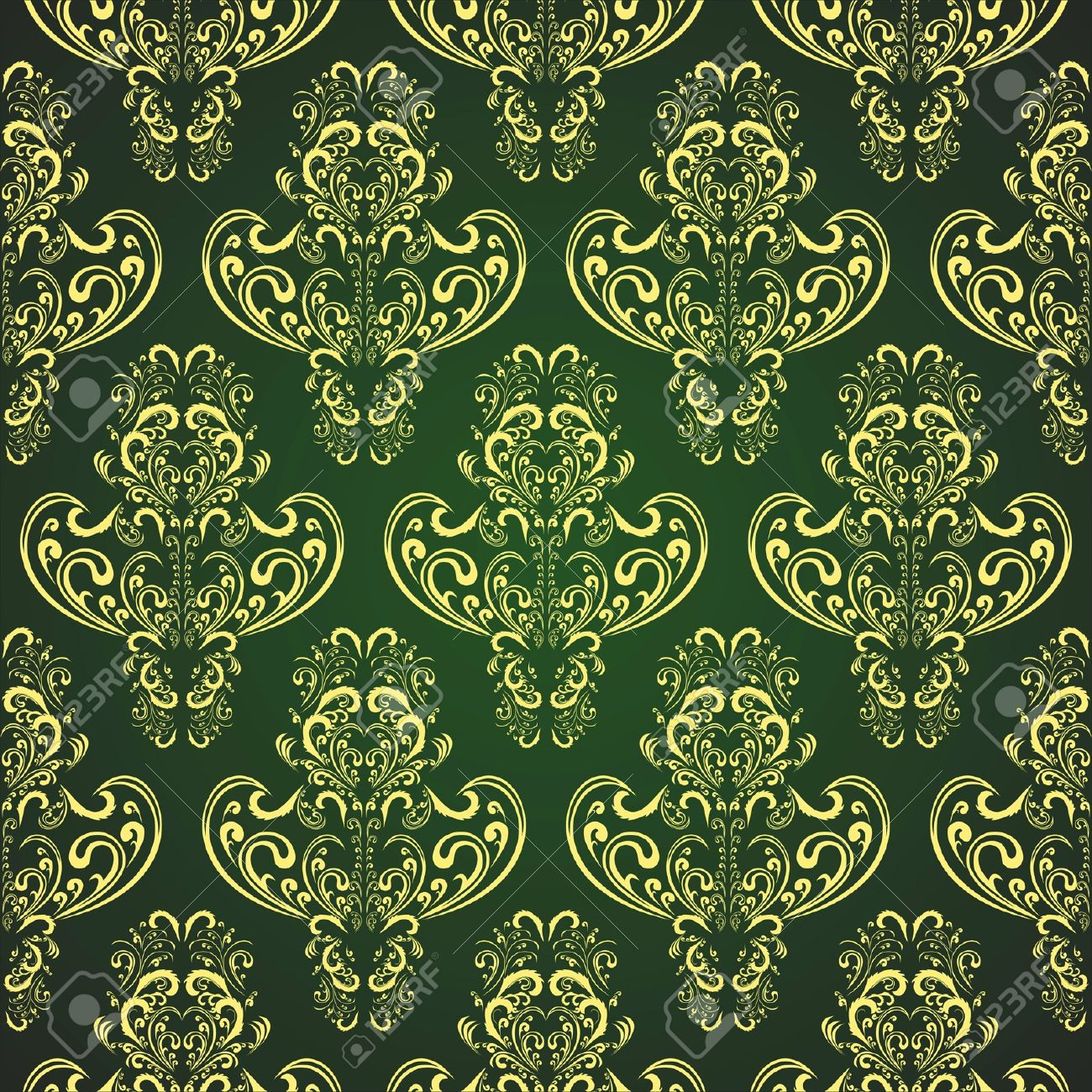 Seamless Wallpaper In Style Retro Gold On Rifle-green Royalty Free