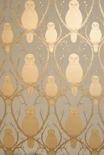 gold & grey owl wallpaper - so sophisticated, i love it | Grey