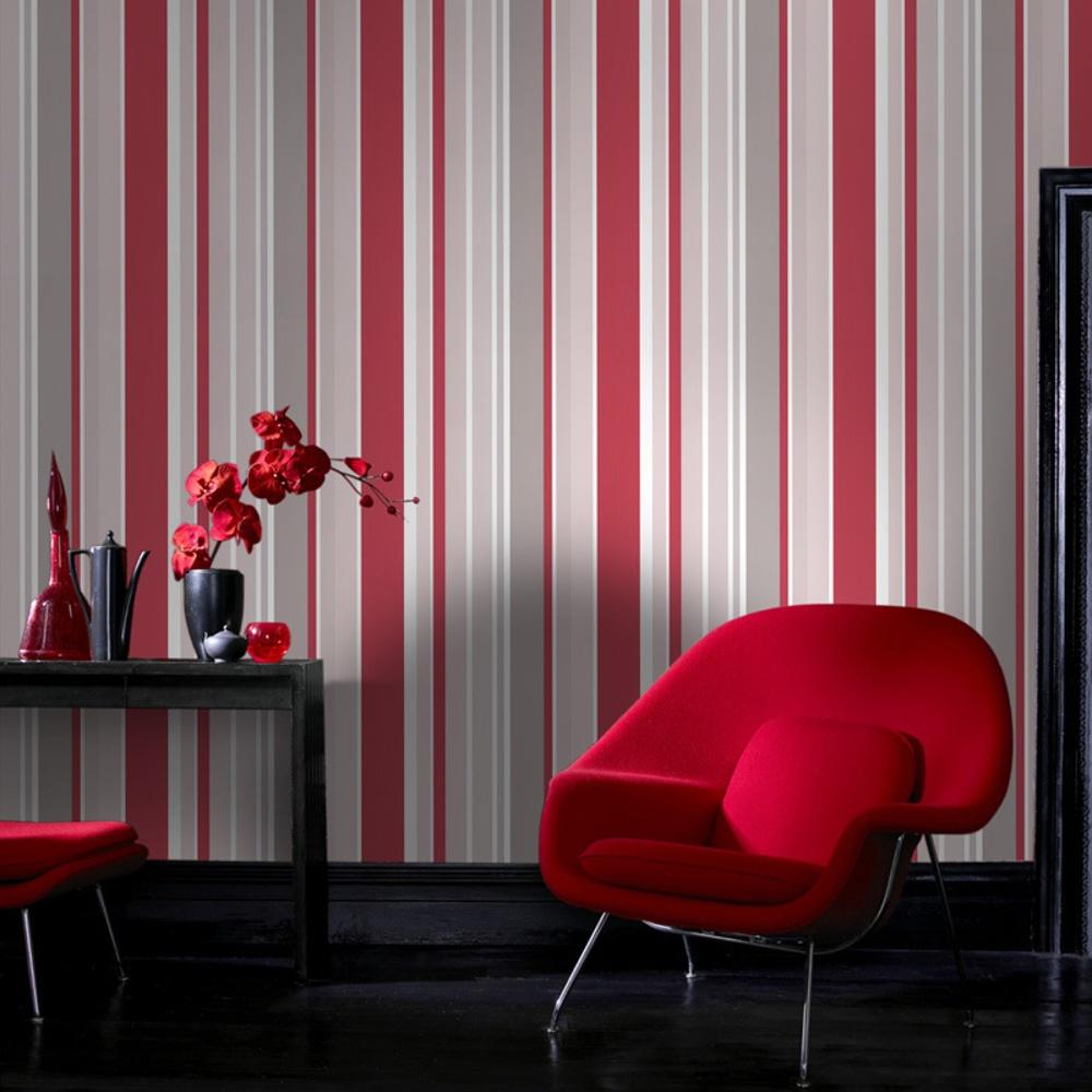 Graham & Brown Fresco Rico Striped Pattern Red Grey Wallpaper 50-665