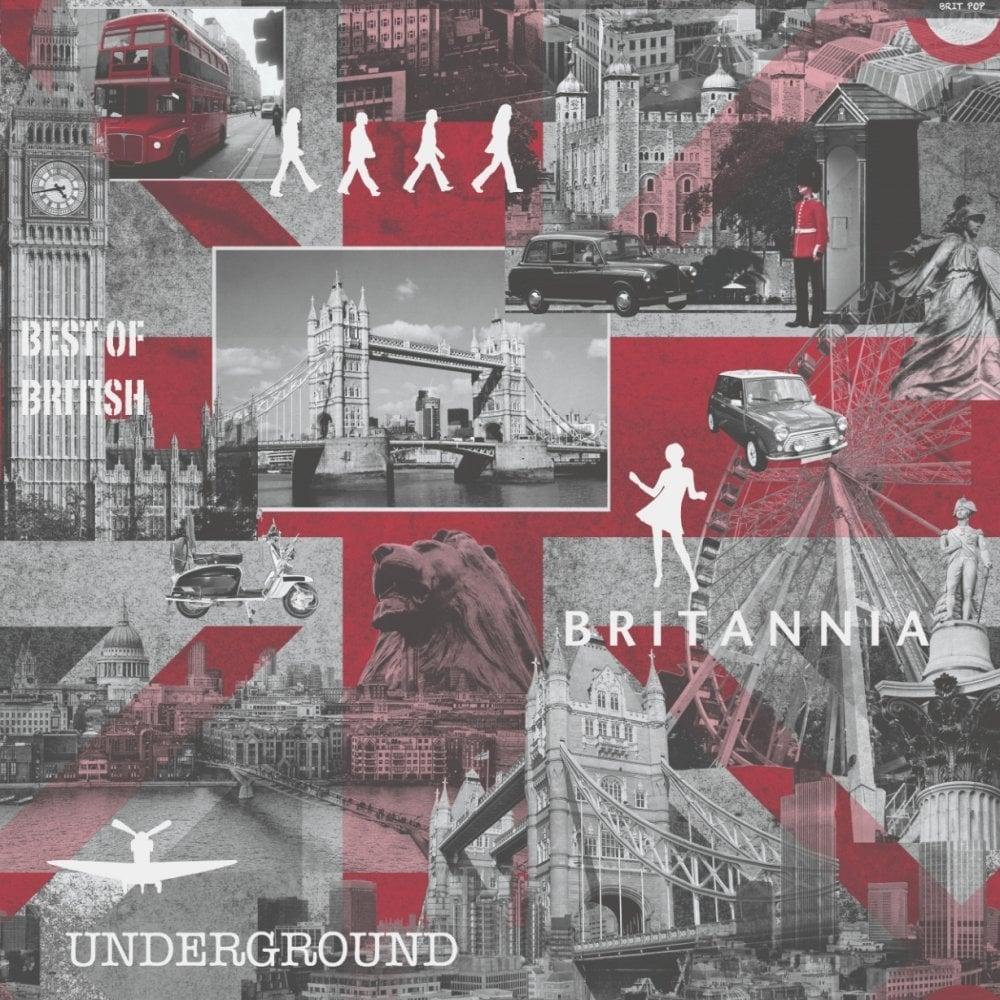 Muriva Britannia City Wallpaper Red / Grey / Black (102509