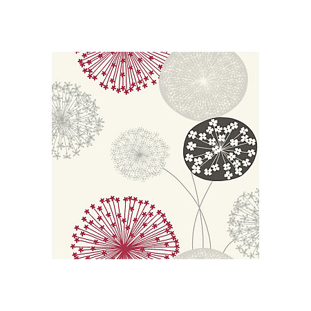 B&Q Lucienne Grey & Red Floral Wallpaper | Departments | DIY at B&Q