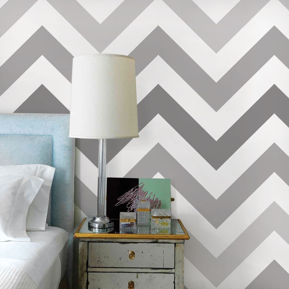 Chevron Wallpaper - Cool Grey - Peel and Stick
