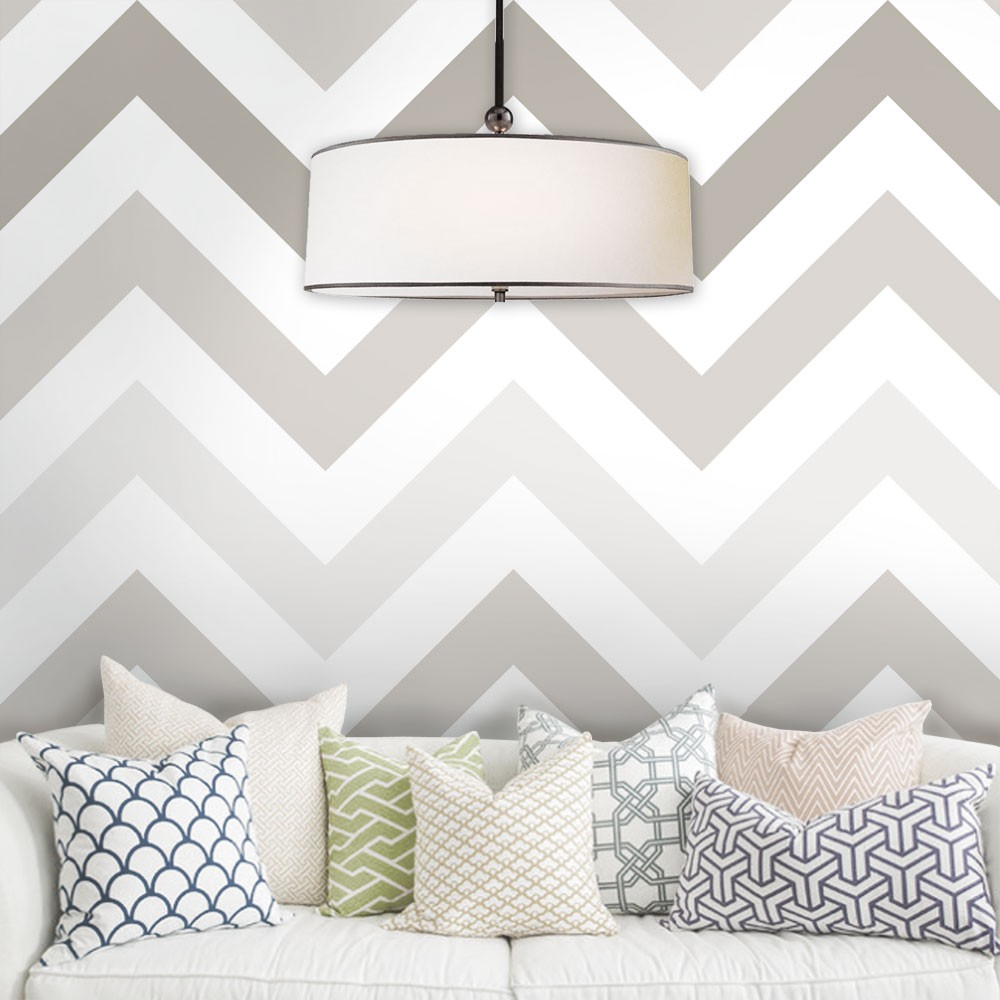 Chevron Wallpaper - Warm Grey - Peel and Stick