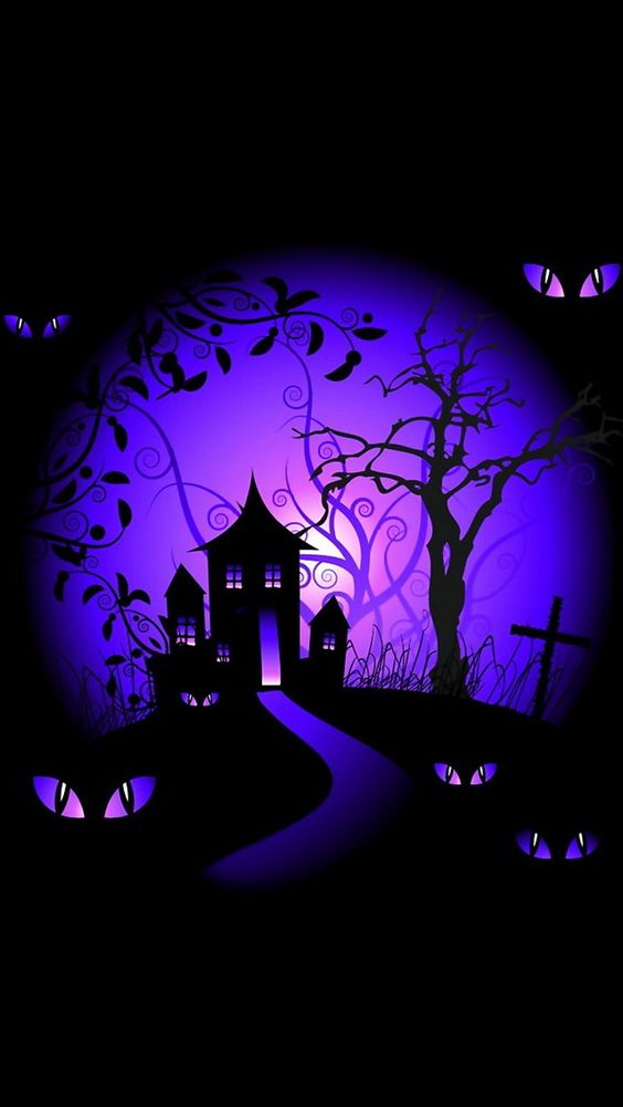 iphone wallpapers background - black and purple halloween haunted