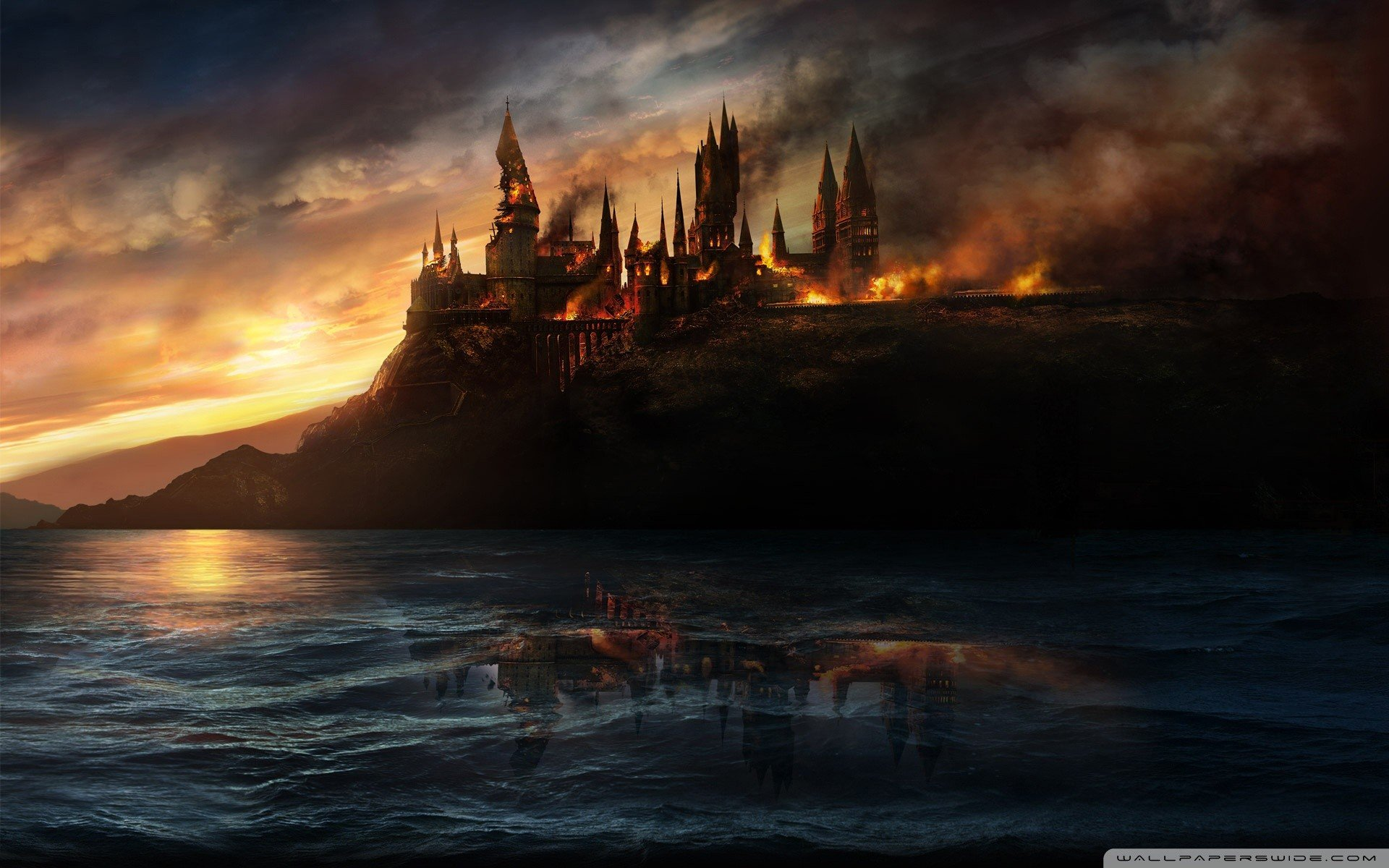 Hogwarts Burning Wallpaper