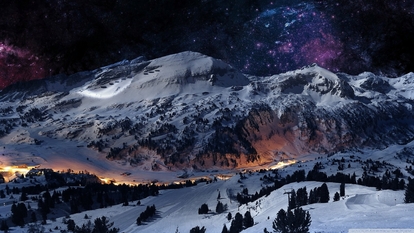 Night Sky Snow HD desktop wallpaper : High Definition : Fullscreen