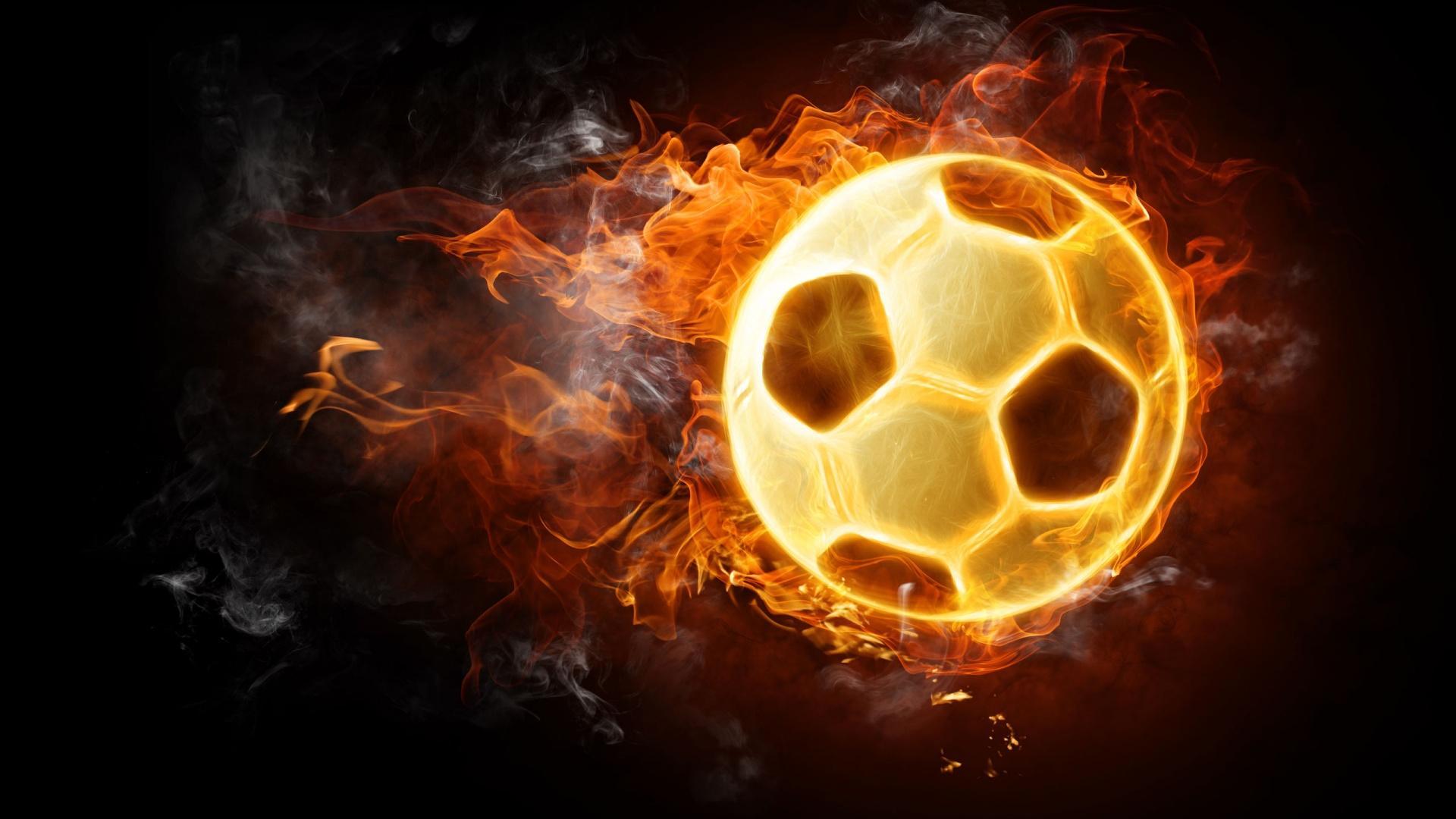 Football on Fire – 1080p HD Wallpaper for Desktop | 해 볼 만한