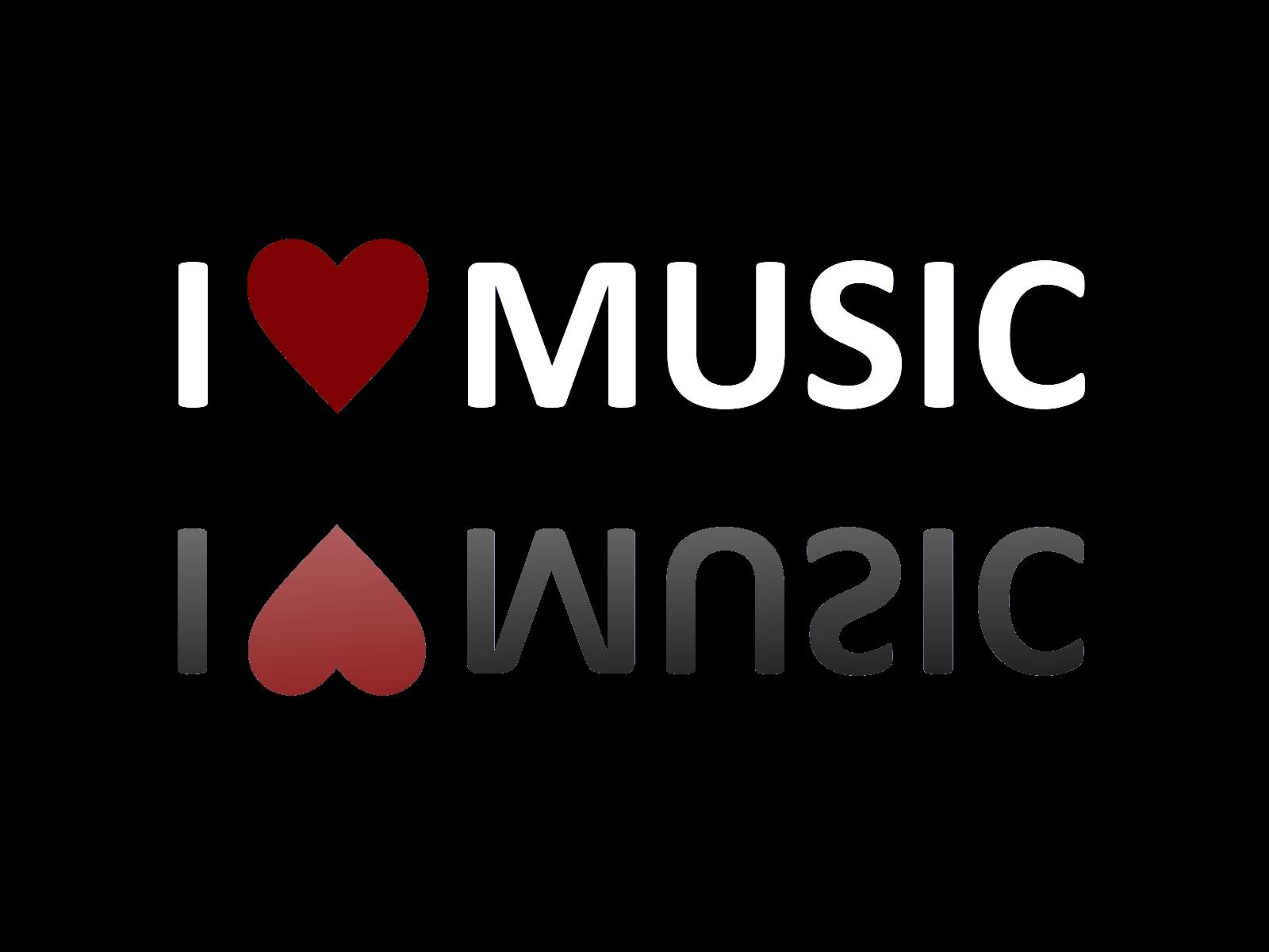I Love Music Black Background Wallpaper
