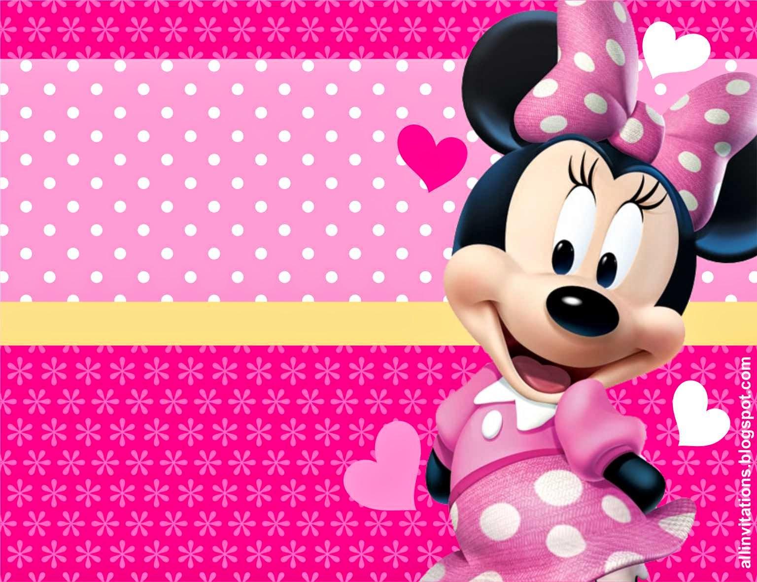 Minnie Rosa: Invitaciones, Imprimibles, Imágenes y Fondos para