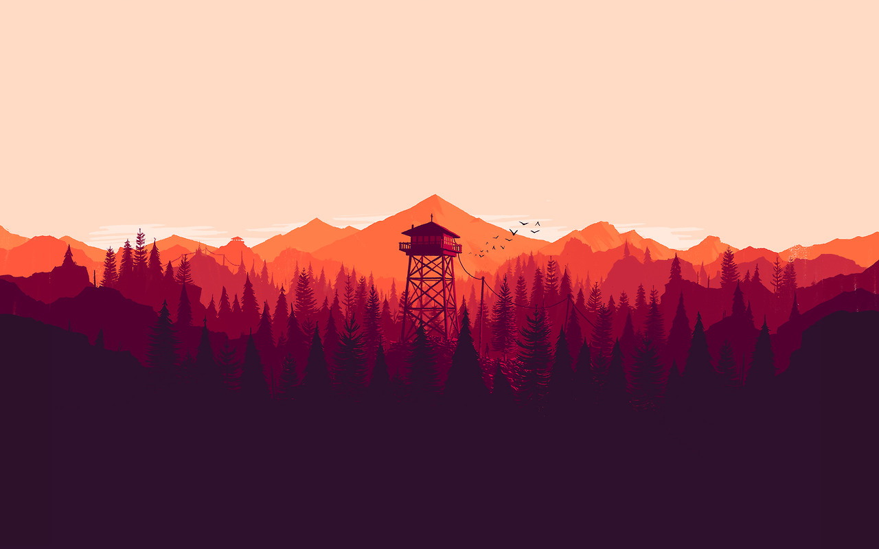 Official wallpapers of the Firewatch key art by Olly Moss! Enjoy