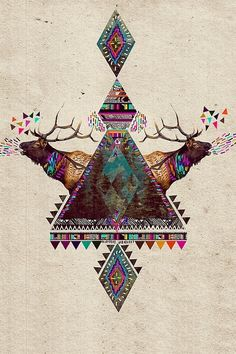 hipster triangle deer shit iPhone wallpaper background  | iPhone