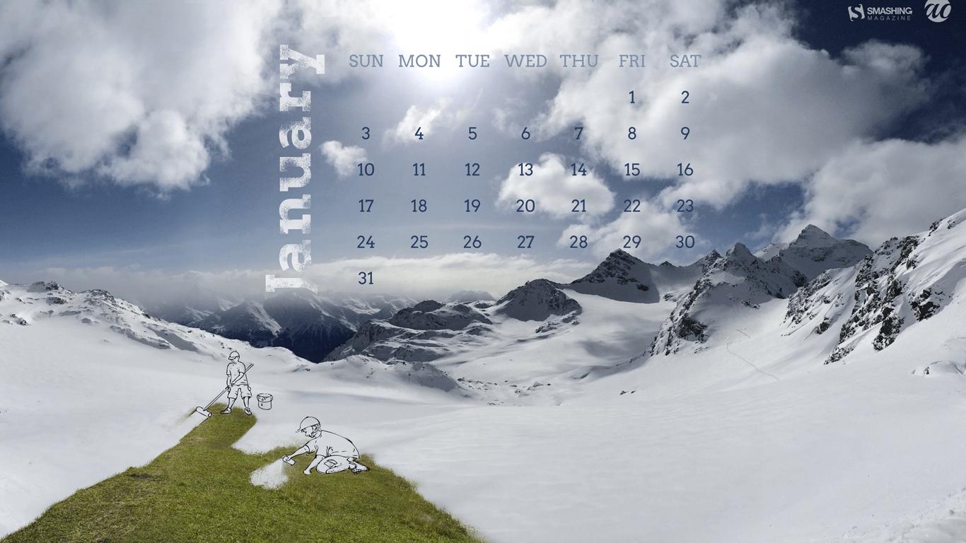 Beautiful January 2016 Calendars Wallpapers for Desktop and iPad