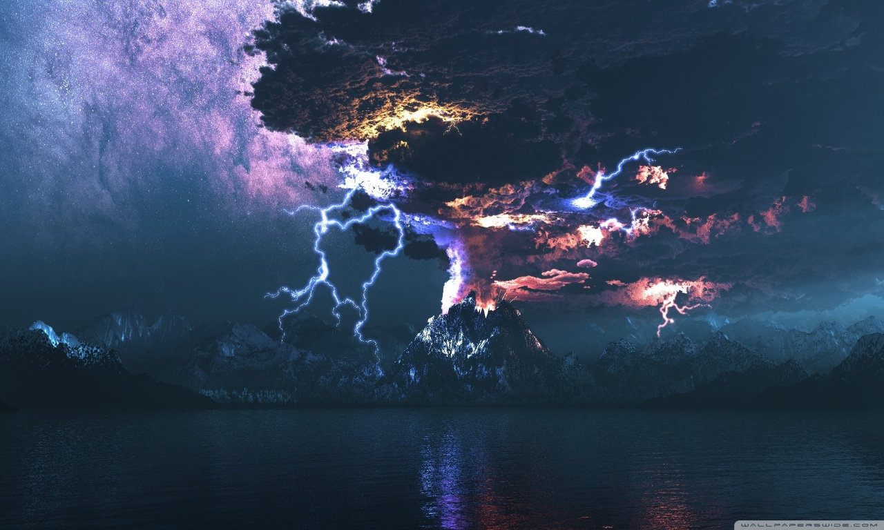 Volcano Eruption Lightning HD desktop wallpaper : High Definition