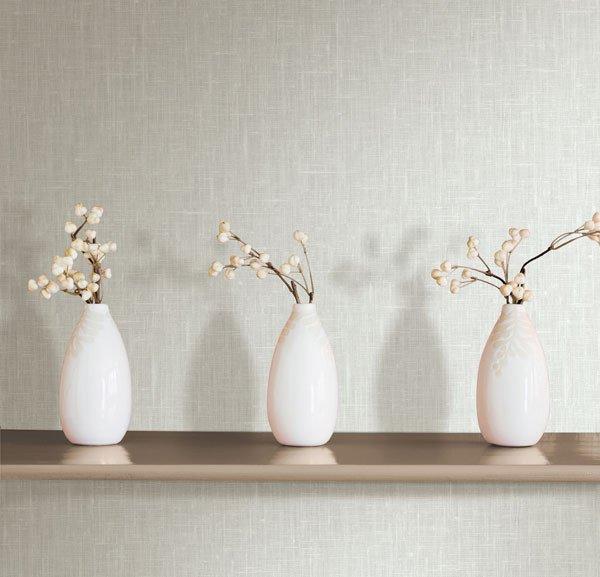 Linge Light Grey Linen Texture Wallpaper from the Beyond Basics