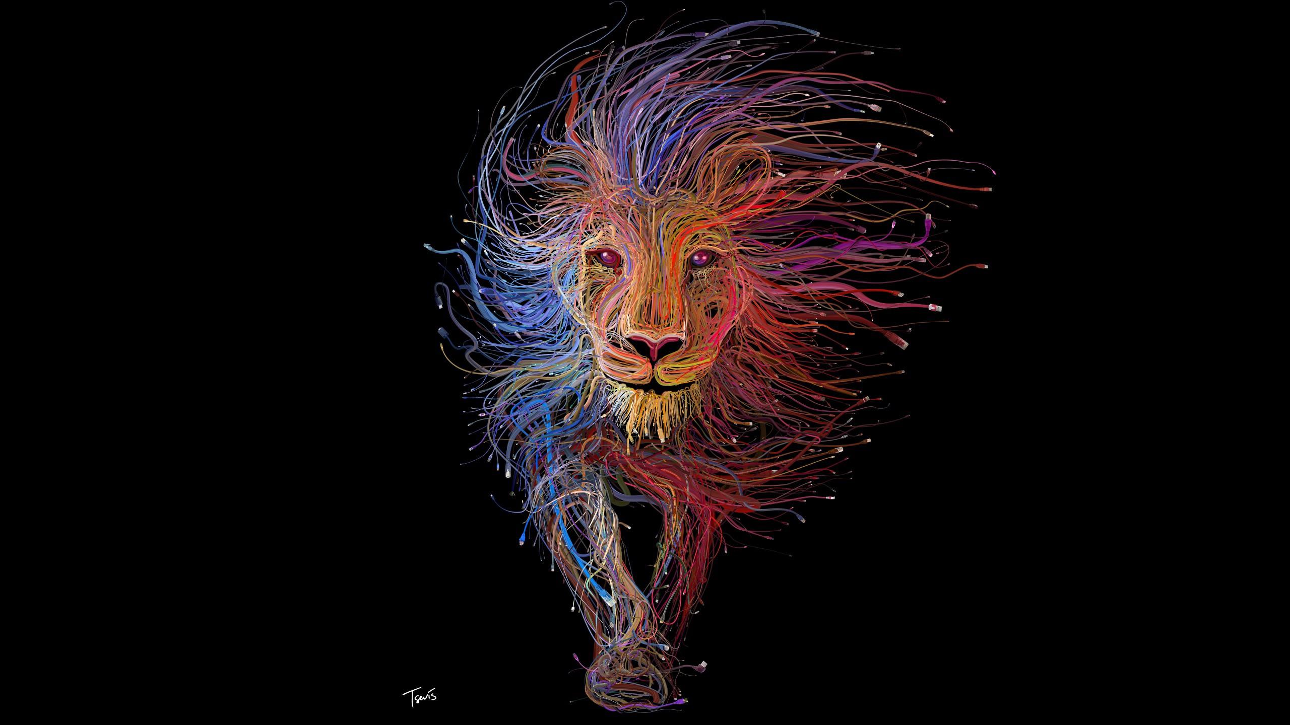 Lion Wires Art Wallpaper | Artist HD Wallpapers