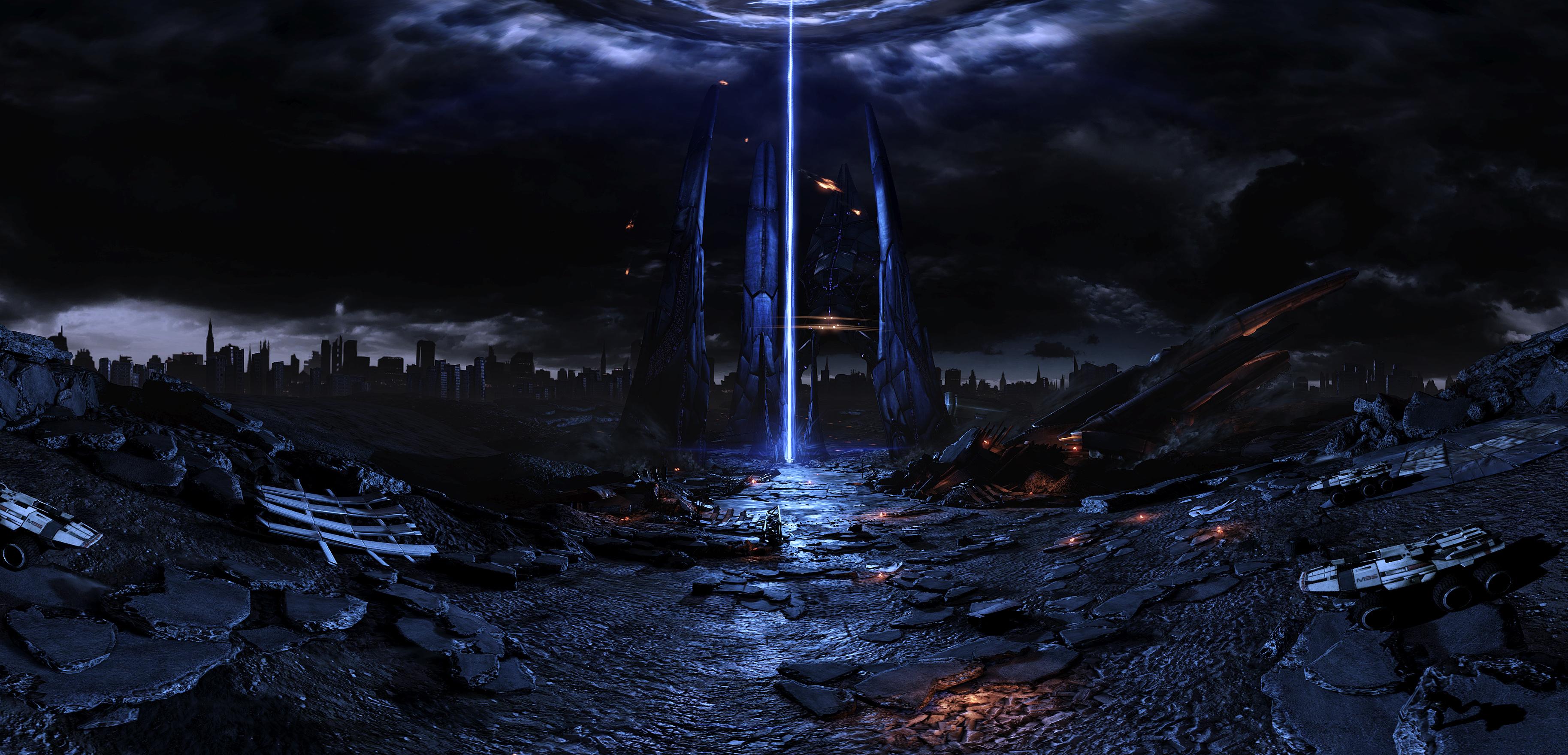 Mass effect fan reaper harbinger art pano spaceship sci-fi