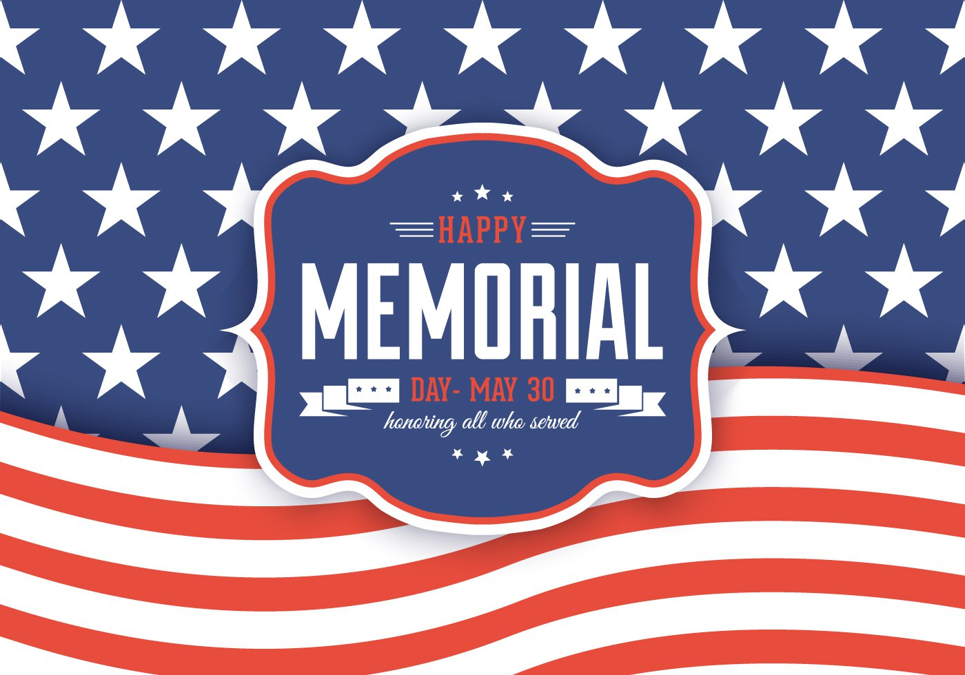 Happy Memorial Day Background Vector Graphic — patriotic