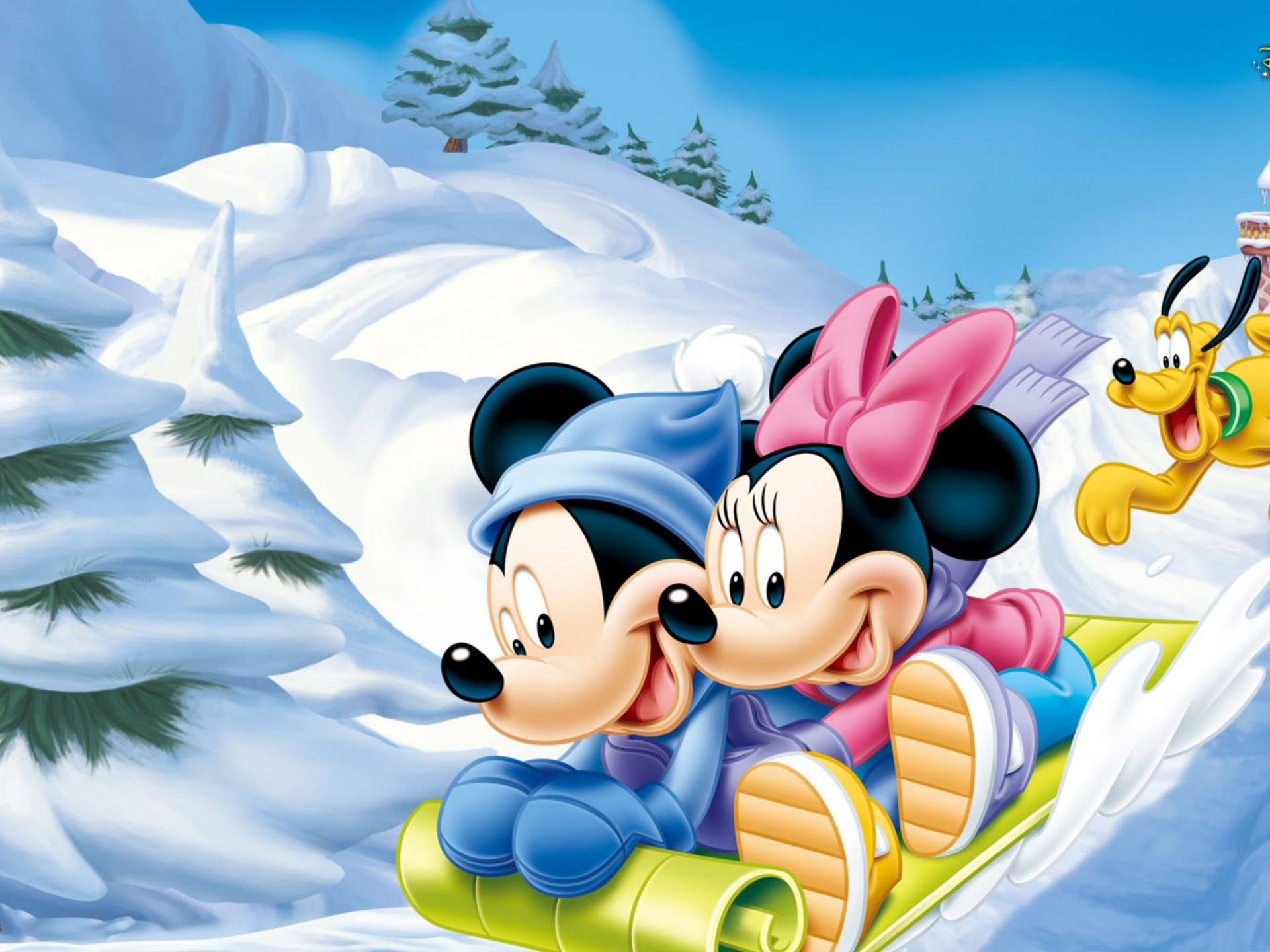 Mickey Mouse And Minnie Mouse Snow Luge Winter Wallpaper Hd