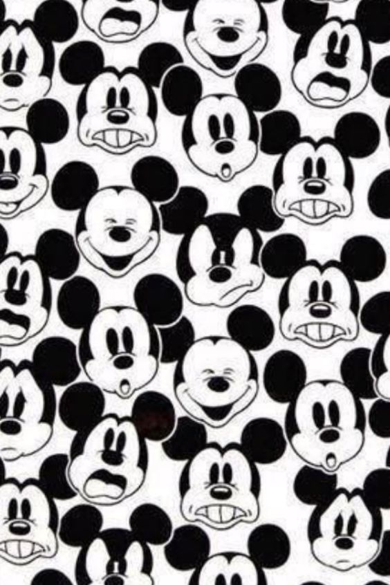 Mickey Mouse faces black and white | Mickey Mouse | Pinterest