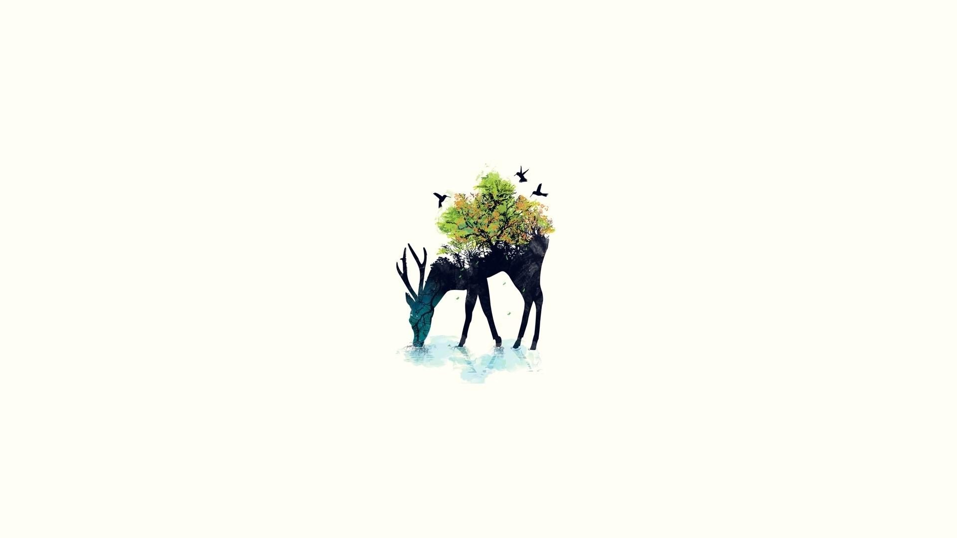 Download Wallpaper 1920x1080 Deer, Minimalism, Vector, Background