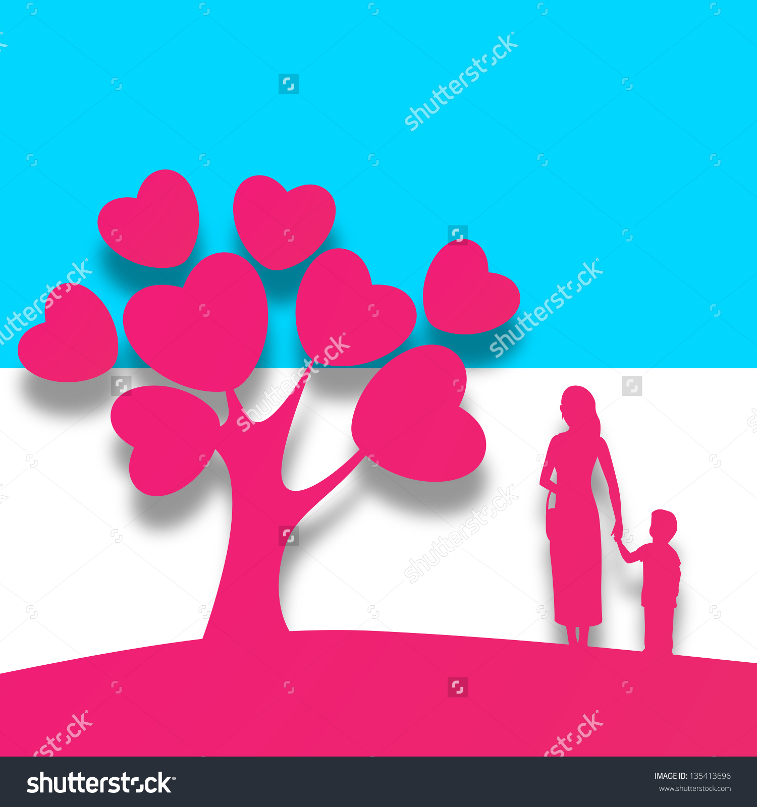 Happy Mothers Day Background Pink Silhouette Stock Vector