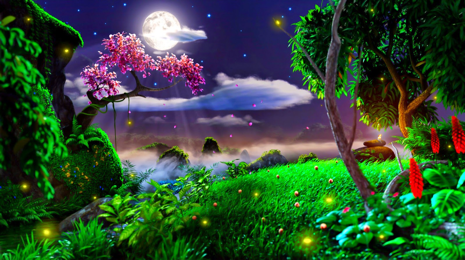 Moon light and stars night background with trees nature art images