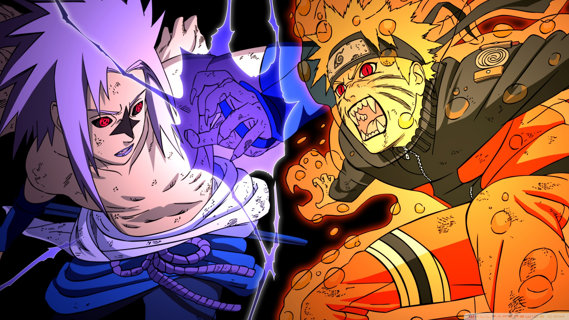 Naruto vs Sasuke - Fighting HD desktop wallpaper : Widescreen