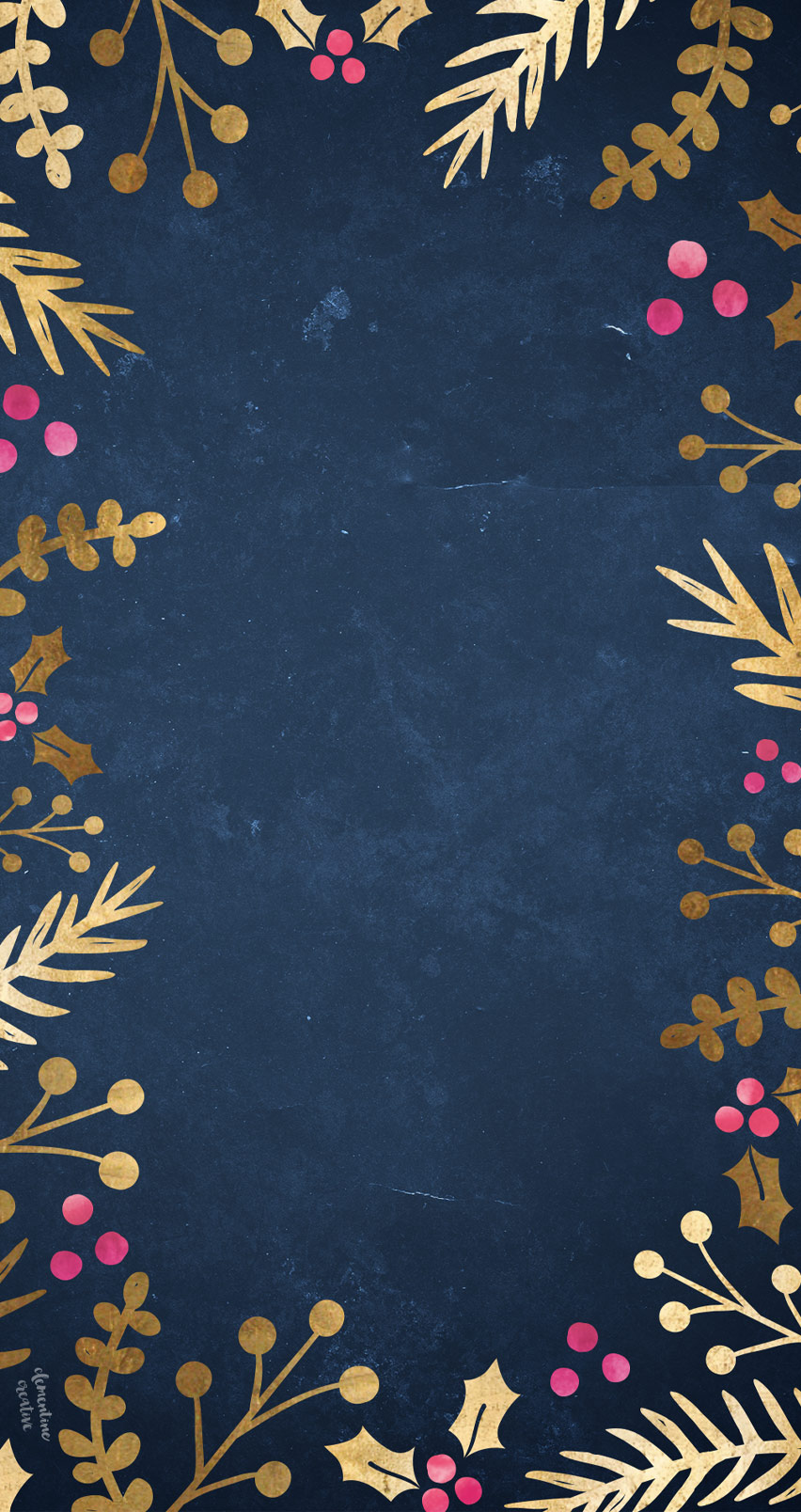 Free Festive Wallpaper: Gold Foil Foliage | iPhone backgrounds