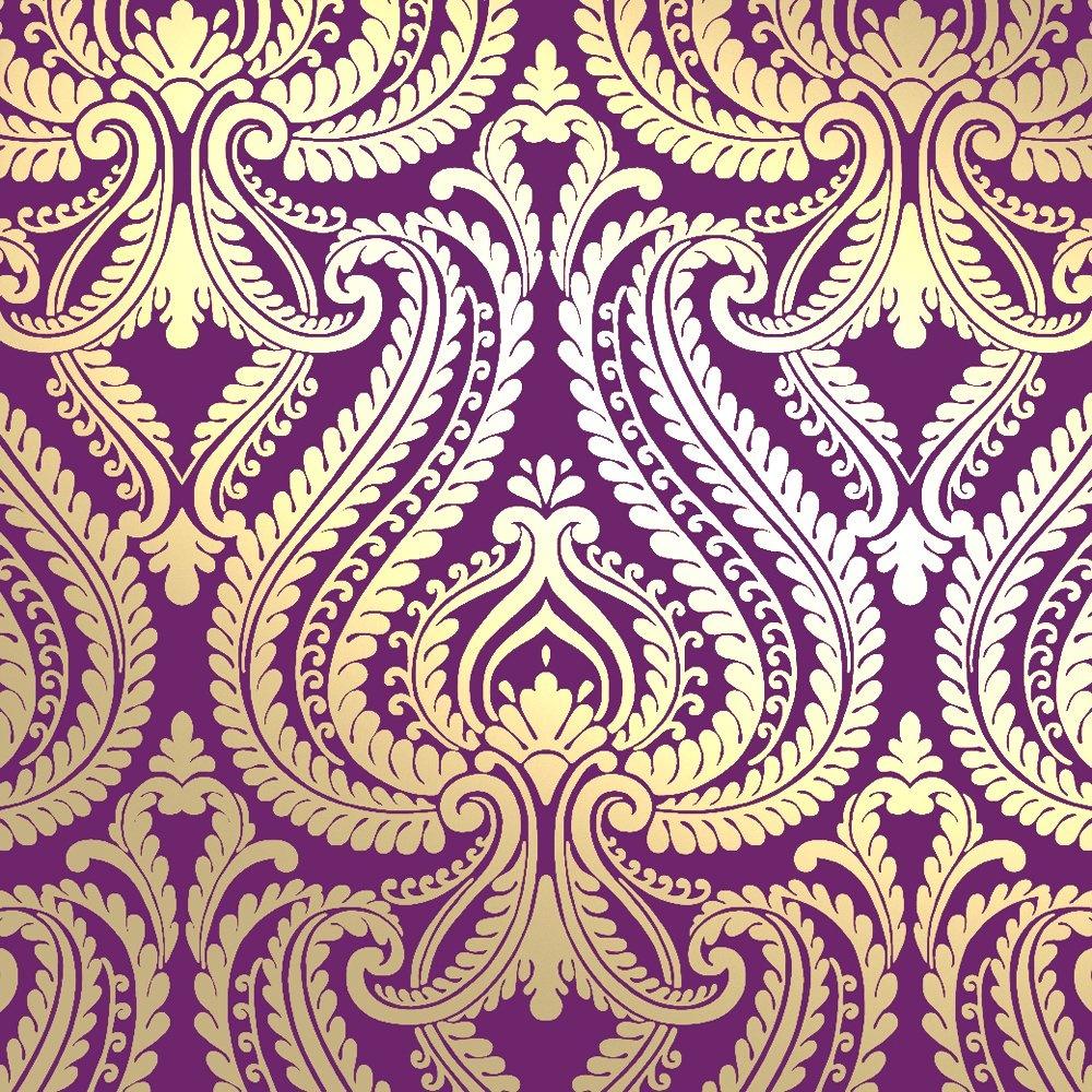 I Love Wallpaper Shimmer Damask Metallic Wallpaper Purple / Gold