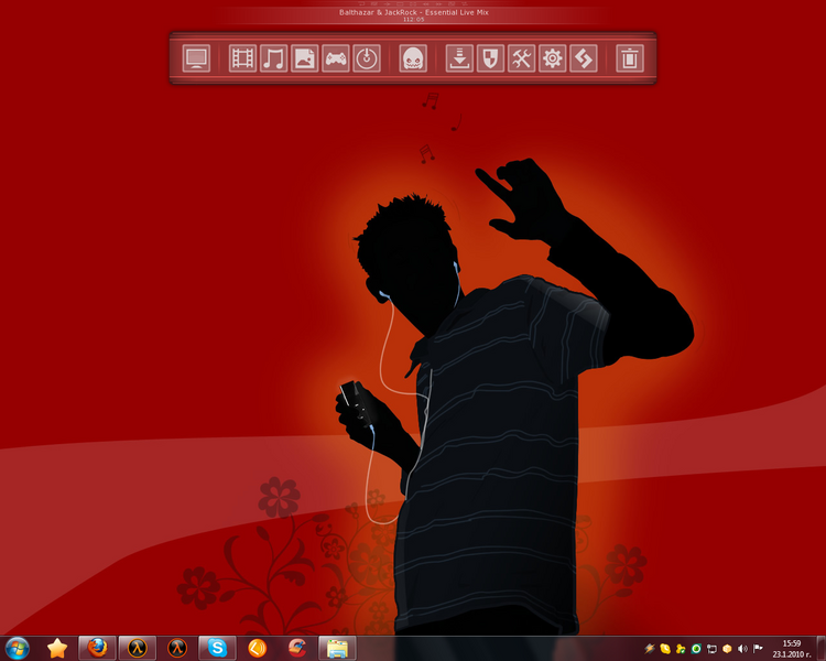 Dark Red Music Skin + Wallpaper - RocketDock com