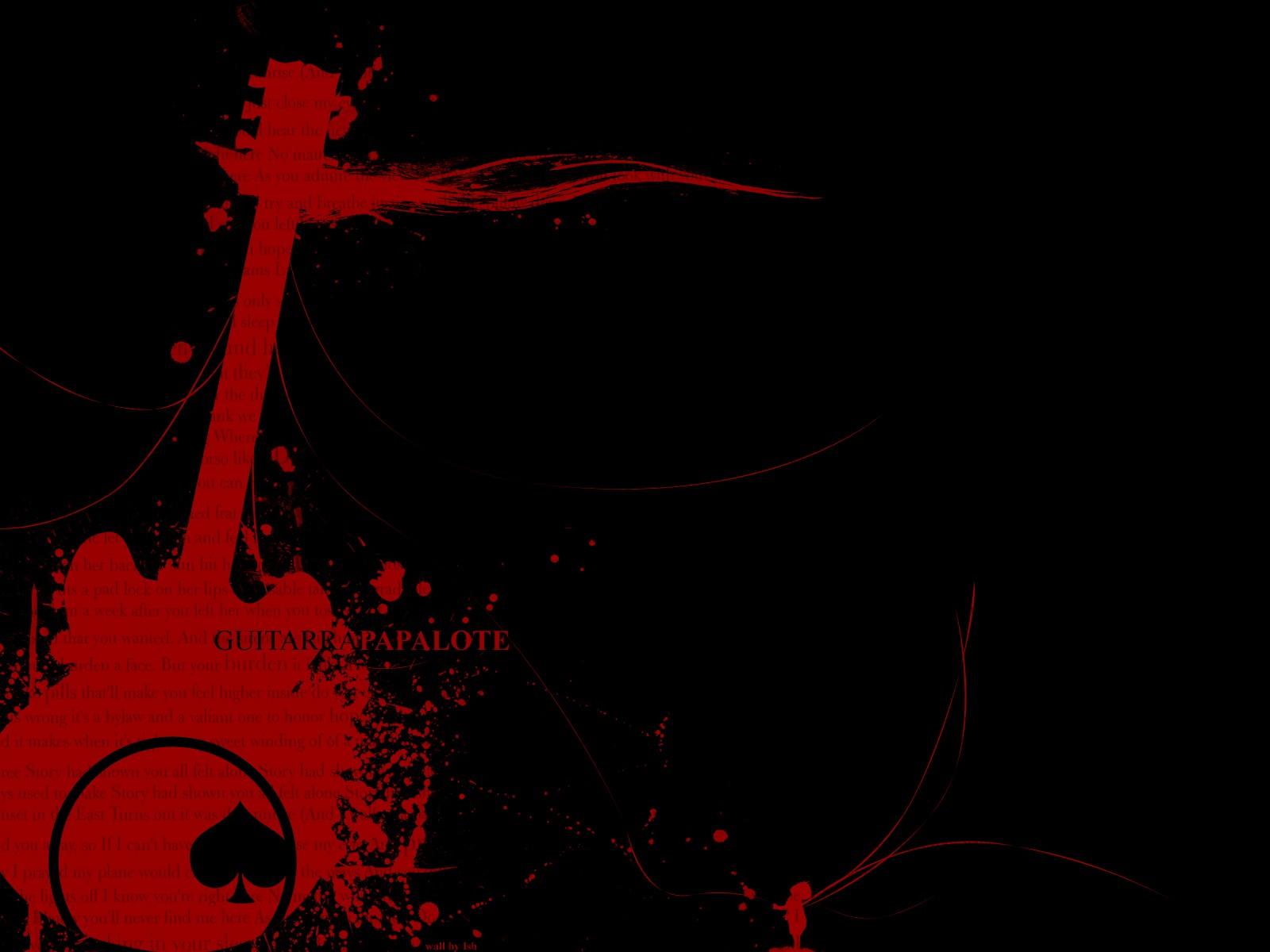 Red Guitars Black Background Wallpaper