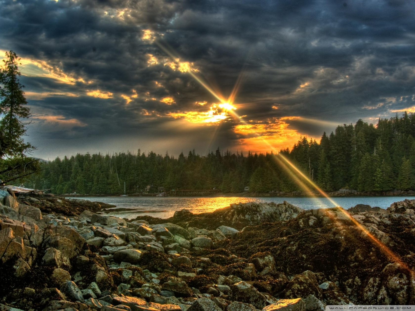 Sun Rays Through Clouds HD desktop wallpaper : High Definition
