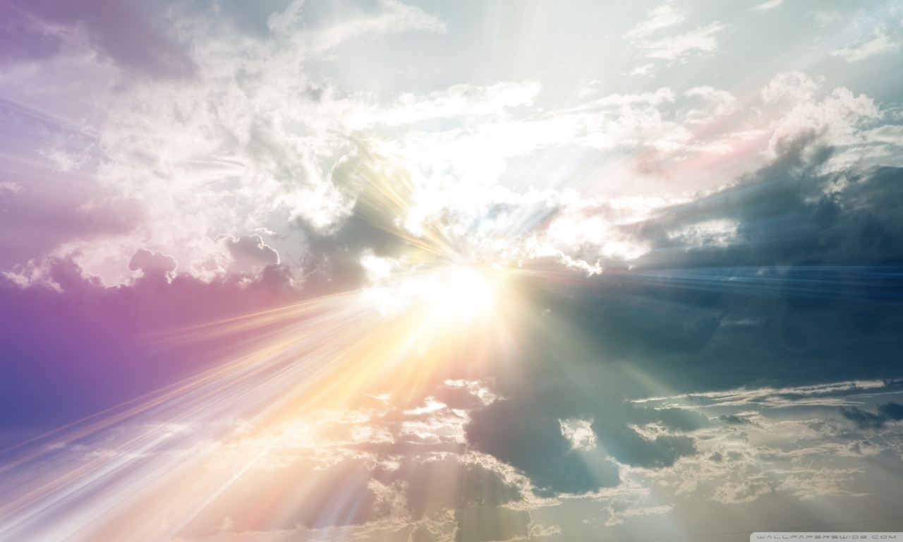 Sun Rays Through The Clouds Colorful HD desktop wallpaper