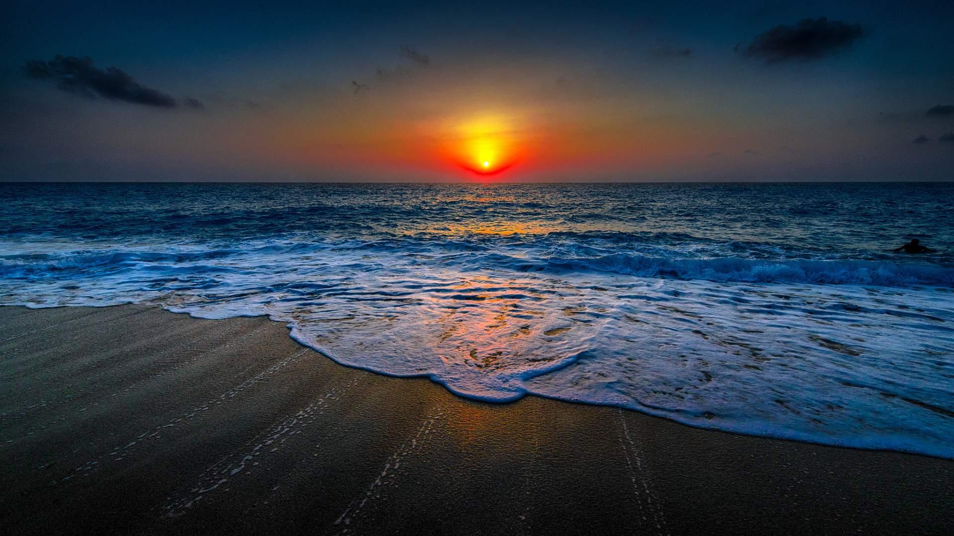 Sunset On The Beach Wallpaper HD Download For Desktop