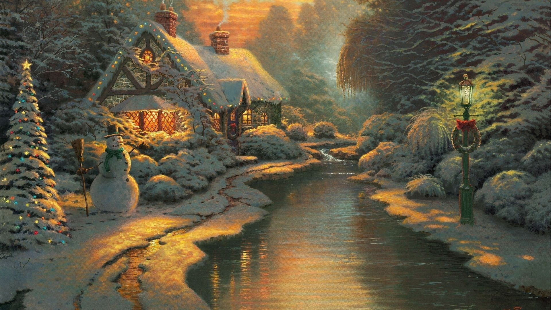 Thomas Kinkade Winter Wallpaper Sf Wallpaper